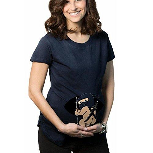 Highdas Mama T-shirt enceinte bébé Motif Masked Femmes Maternité Haut Bleu / S