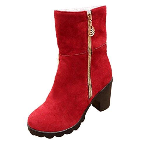 QinMM Frauen High Heel Halbe Stiefeletten Winter Warm Martin Stiefel (37, (Frauen Rote Stiefel)