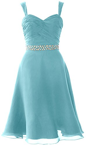 MACloth Elegant Straps Chiffon Cocktail Dress Short Wedding Party Formal Gown Turquoise