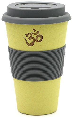 freakulized ॐ OM Kaffeebecher gelb im Yoga & Boho Travel Mug Style - nachhaltiger Meditation Coffee2go Becher Tee - ökologisch mit Bambus hergestellt gelb
