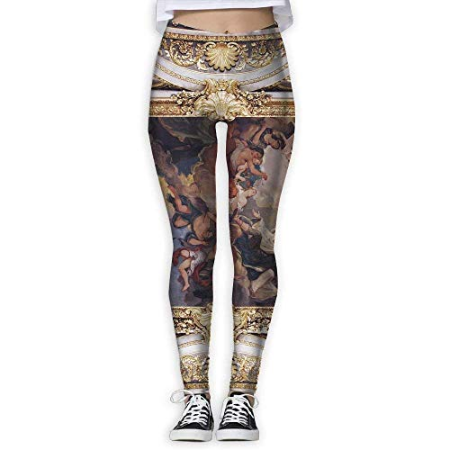 best& Golden Church Ceiling with Painting in Italy Europe Womens Power Yoga Pants Large