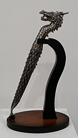 STATUETTE DRAGON - OUVRE LETTRE FORME DE DRAGON + SOCLE EN BOIS- Ht 30 cm - Statuette figurine dragon - Épée dragon