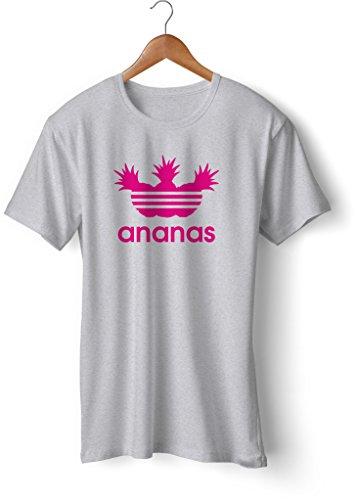 Fashion T-Shirt bedruckt, 190g mit Seitennaht, Fun Druck ananas Grau-Neonpink