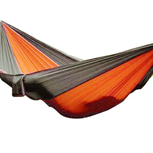 ANPI Doppelte Tragbare Fallschirm Stoff Hängematte, Nylon Stoff Leicht Hängen Swing für Draußen Reisen Camping Wandern Garten Geschenk, 300kg Last, 260*1400cm, Grau und Orange