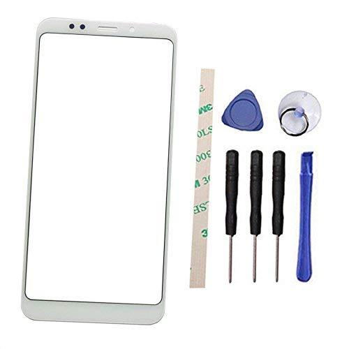 """Draxlgon Pantalla Frontal de Lentes de Vidrio Reemplazo Parte para Xiaomi Redmi 5 Plus 5.99"""" (No LCD Display No Digitizer) (Blanco)"""