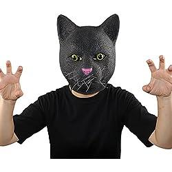 XIAO MO GU Máscara de la Cabeza de Animal Gato, Máscara del Látex de la Decoración de Halloween de Disfraces para los Adultos y Niños - Negro