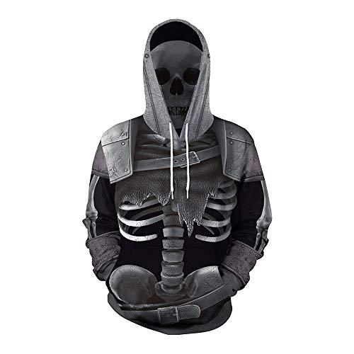 Skeleton Sweatshirt Hoodie Kind Kostüm - Shishiboss Halloween Unisex 3D Skeleton Hoodie