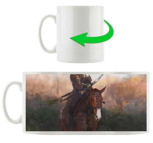 Samurai Krieger auf einem Pferd, Motivtasse aus weißem Keramik 300ml, Tolle Geschenkidee zu jedem Anlass. Ihr neuer Lieblingsbecher für Kaffe, Tee und (Kostüm 300 Krieger)