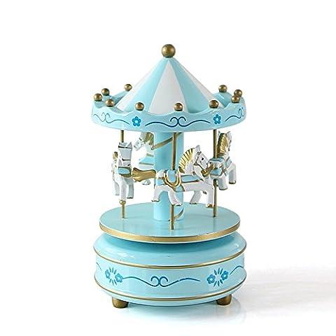 Lanlan Holz 4Pferd Drehkarussell Figur Musik Box Kinder Geburtstag Weihnachten Geschenke Spielzeug 1#,