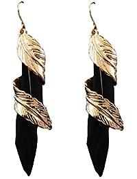 OOMPH Jewellery Gold & Black Feather Drop Earrings For Women
