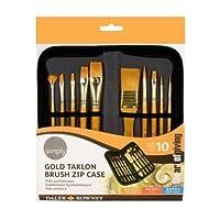 Daler Rowney - Simply Gold Taklon Paint Brush Set and Zip Case - Set of 10 Brushes