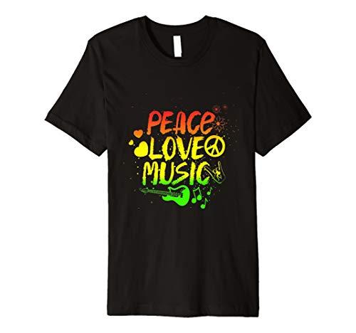Peace Love Music Reggae Shirt Jamaika Musikliebhaber Tees