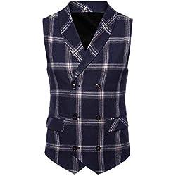 ALIKEEY Hombres Chaqueta De Abrigo Sin Mangas Estampado Plaid Button Casual Chaleco Blusa Traje Británico Vestir Fiesta Gemelos Cuadros