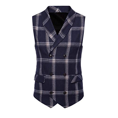 Goldatila Men's Waistcoats Men Slim Fit V Neck Double Breasted Business Casual Waistcoat Suit Vest Men Formal Check Double Breasted Waistcoat Retro Slim Fit Suit Jacket -