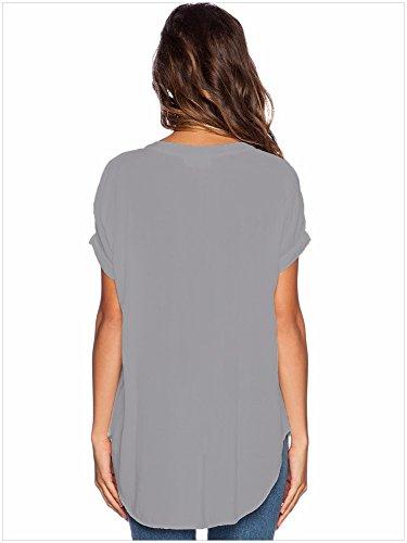 mode neue v - kragen - chiffon - hemd l gray