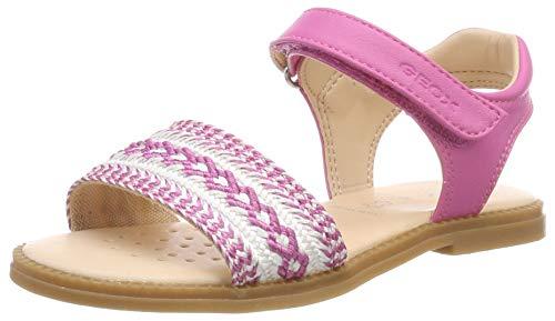 Geox Mädchen J Karly Girl G Peeptoe Sandalen Pink (Fuchsia C8002) 35 EU Fuchsia Patent Schuhe