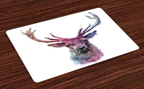 ABAKUHAUS Hirsch Platzmatten, Illustration des männlichen Hirsches mit weichem blassem Farben-Geweih-Tier-Natur Artful Print, Tiscjdeco aus Farbfesten Stoff für das Esszimmer und Küch, Lila Rosa