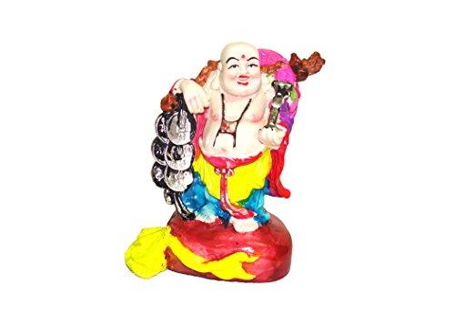 Laughing Buddha, in poliresina dipinta a mano, Fenshui Idol/Vaastu Showpiece Bambola, multicolore, 16 cm - Laughing Buddha