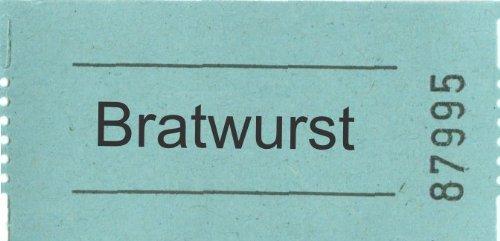 Rollen-Gutschein - Bratwurst - 1000 Stück blau