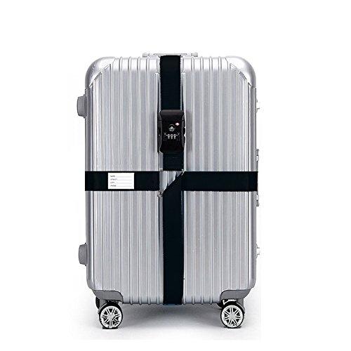 CSTOM Kreuz, 420x5cm, Schwarz TSA Schloß Kofferband Koffergurt Reise