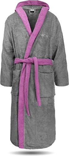 Unisex Luxus Wellness Bademantel für Damen & Herren aus 100 % weicher Baumwolle, Oeko-Tex® 100, verschiedene Farben, halblang Farbe Grau/Rosa Größe 3XL (Frottee-bademantel Hoch Groß Und)