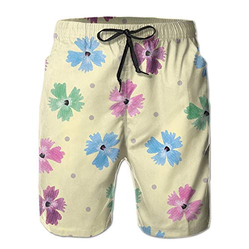 Men's Shorts Swim Beach Trunk Summer Colourful Daisy Athletic Fashion Shorts with Pockets - XXL -