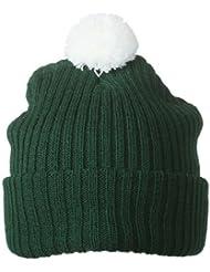 Strickmütze mit Pompon/Myrtle Beach (MB 7540), dark-green/white
