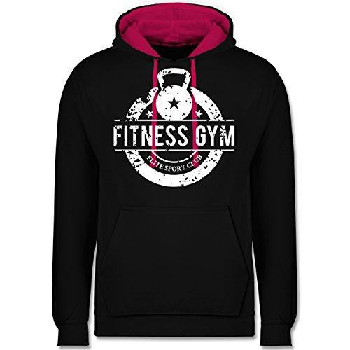 CrossFit & Workout - Fitness Gym Elite Sport Club - Kontrast Hoodie Schwarz/Fuchsia