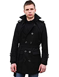 Allegra K Men Double Breasted Convertible Collar Belted Coat Black M