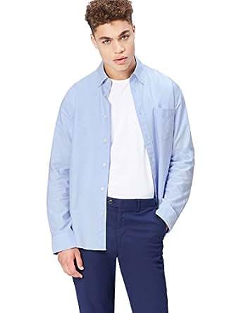 FIND Camicia in Cotone con Inserti Uomo, Blu (Blue), Small