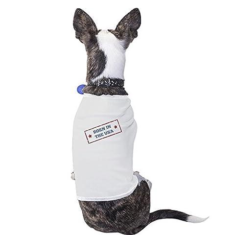 365Druck Born in the USA weiß kleine Haustiere Shirt American Flagge Kleine Hunde Tee