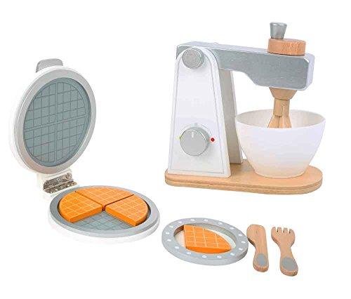 Checklife 92125 Waffeleisen Set aus Holz mit Rührgerät Mixer aus Holz Kinderküche Holzspielzeug Küchengeräte für Kinder ab 3 Jahren