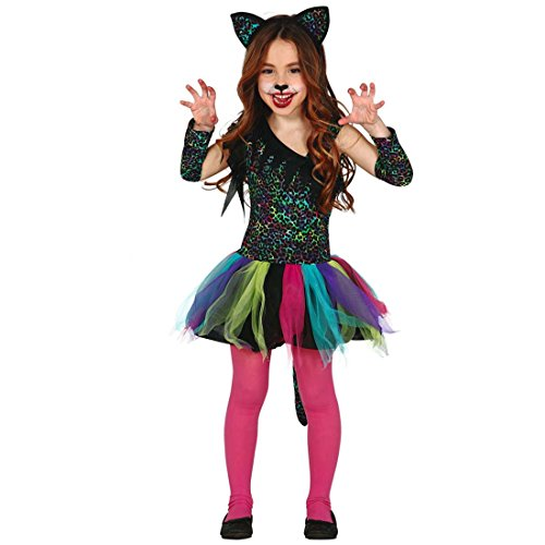 Amakando Leopardenkleid Mädchen Buntes Kinderkostüm Leopard XS 92/98 3 - 4 Jahre Wildkatze Faschingskostüm Raubkatze Kostüm Kind Katzenkostüm Fastnacht Tierkostüm Karneval (Wildkatze Leopard Kostüm)