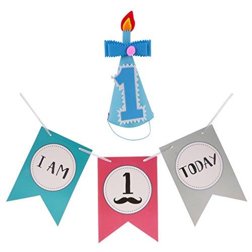 Blesiya Baby 1. Geburtstagsfeier Cone Hat + Stuhl Banner Party (Hüte Schnurrbart Kegel)