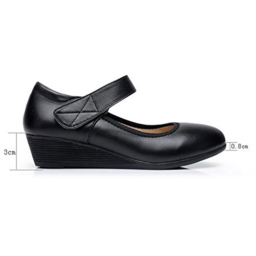 KALENDS femmes Cuir véritable Cobbies Taille plus Chaussures de travail décontracté Chaussures Noir