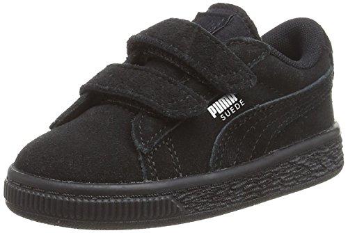 Puma Unisex-Kinder Suede 2 Straps Inf Sneaker, Schwarz Black Silver, 26 EU