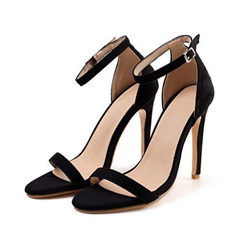 Deloito 2019 Sommer Sexy Damen High Heels Sandaletten Peep-Toe Schuhe Hochzeit Flacher Mund Party Prom Schuhe Abend Stilett Sandalen (Schwarz,37 ()
