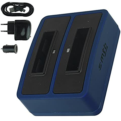Cargador doble (USB/Coche/Corriente) para Samsung SLB-10A / Toshiba Camileo X-Sports / JVC Adixxion / Silvercrest / Medion Action Cam.. v.
