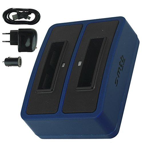 Double Chargeur (USB/Auto/Secteur) pour Samsung SLB-10A / Toshiba Camileo X-Sports / JVC Adixxion / Silvercrest / Medion Action Cam.. v. liste