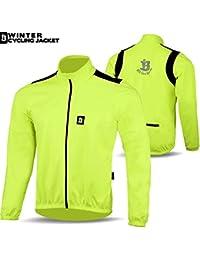 Chaqueta de ciclismo para invierno térmico forro polar cortavientos Windstopper manga larga chaquetas, hombre, color verde fluorescente, tamaño large
