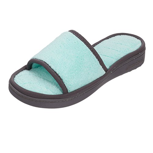Dearfoams Microfiber Terry Slide with (Blue) Wave Quilt Sock Small UK/India 3-4