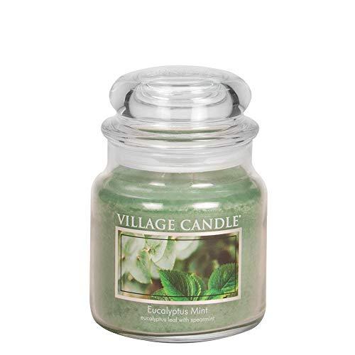 Minze Duftkerze (Village Candle Eukalyptus-Minze Duftkerze im Glas, 454 g, grün, 9.7 x 9.5 cm)
