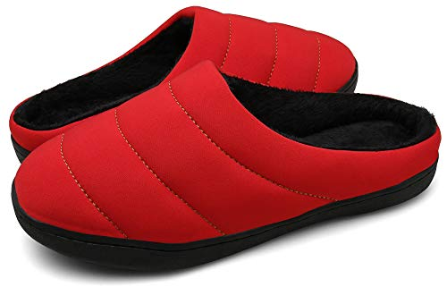 DAFENP Zapatillas de Casa Hombre Mujer Invierno Caliente Forro Polar Slippers Suave Interior Al Aire Libre Zapatos XZ333A-Red-EU35/36