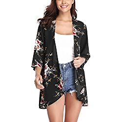 Aibrou Women's Floral Kimono Cardigans,3/4 Sleeve Tops Loose Floral Blouse Casual Boho Style Capes