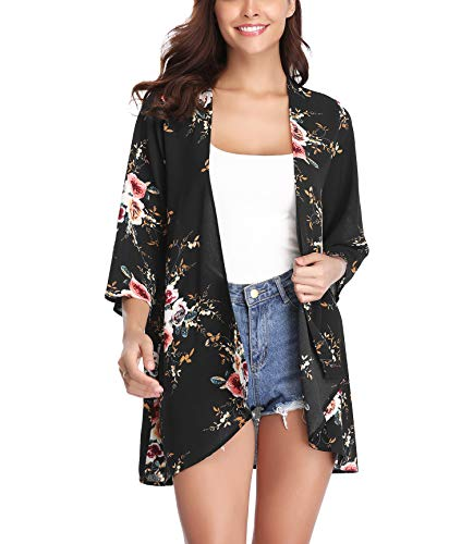 Aibrou Women's Floral Kimono Cardigans,3/4 Sleeve Tops Loose Floral
