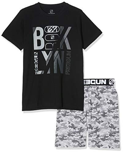 FREEGUN EG.FGLYN.PSH.MZ Ensemble de Pyjama, Noir/Imprime, (Taille Fabricant:16 Ans) Garçon
