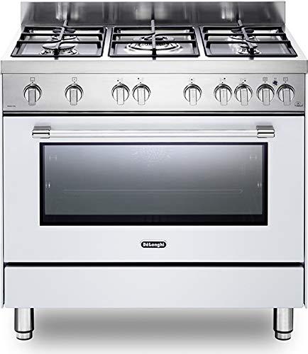 De Longhi PRO 96 GVW Linea Professional Cucina a Gas 5 Fuochi con Forno a Gas Ventilato 90x60, colore Bianco