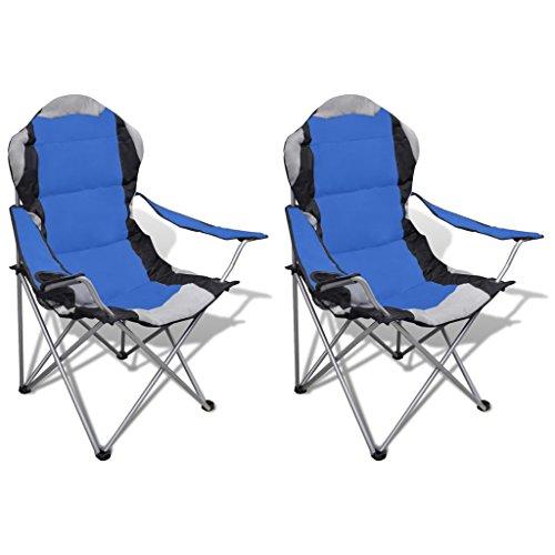 vidaXL Conjunto de 2 Sillas Plegables XXL con Bolsa Mueble Campamento Camping