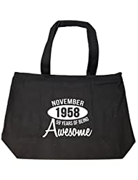 November 1958 59 Years Of Being Awesome Funny Birthday Gift - Tote Bag With Zip