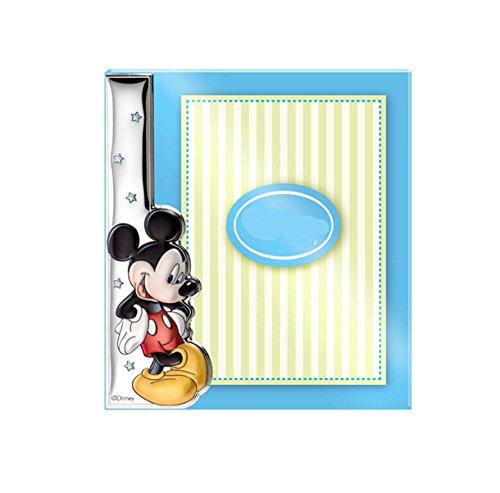 Cadre bilamininado en argent de première loi de Mickey pour cadeau de naissance. Couleur bleu.